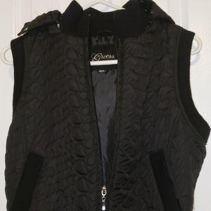 Black GUESS vest with detachable hood
